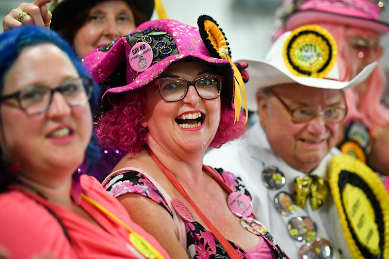 Monster Raving Loony party candidate Lady Lily The Pink arrives with her supporters as they await the results of the Brecon and Radnorshire by-election at the Royal Welsh Showground, Llanelwedd, Builth Wells.