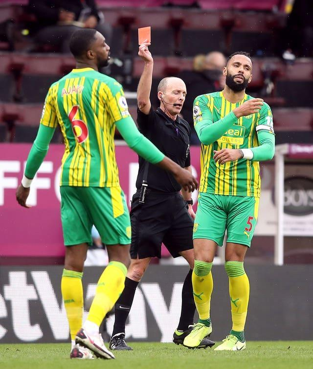 Semi Ajayi (left) was shown a red card for West Brom