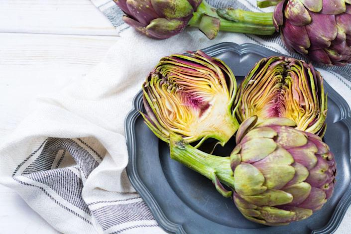 """<p>""""Artichokes are surprisingly high in fiber,"""" Cording says. Specifically, they contain a type of soluble fiber called inulin which can also help control bad <a href=""""https://www.prevention.com/food-nutrition/healthy-eating/g23310235/probiotic-foods-for-gut-health/"""" rel=""""nofollow noopener"""" target=""""_blank"""" data-ylk=""""slk:bacteria in your gut"""" class=""""link rapid-noclick-resp"""">bacteria in your gut</a>. """"It can be a helpful way to stimulate digestion,"""" Cording says.</p>"""