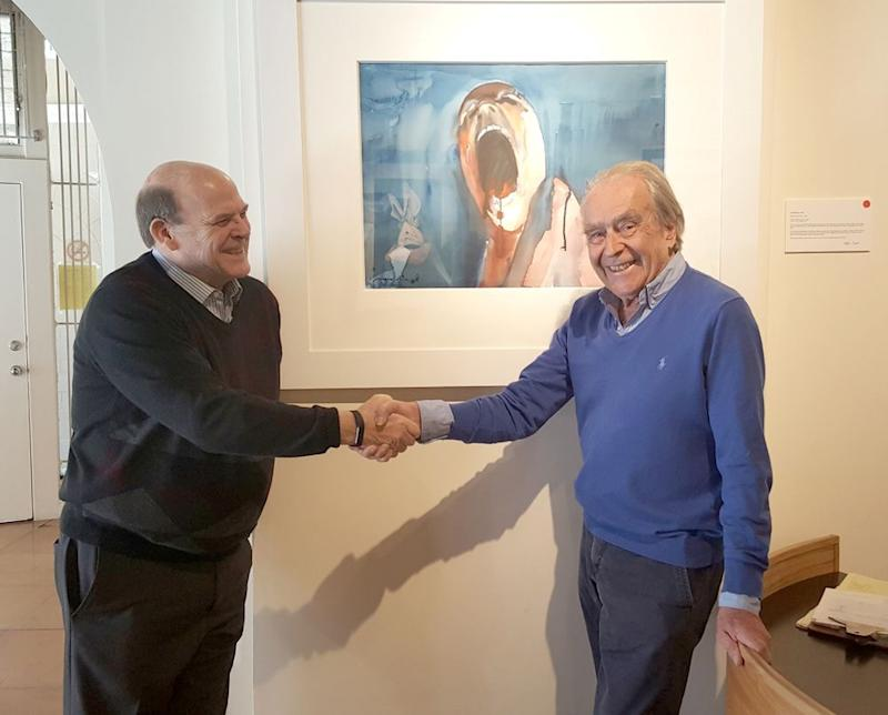 Scarfe and San Francisco Art Exchange co-partner Jim Hartley celebrate the sale of