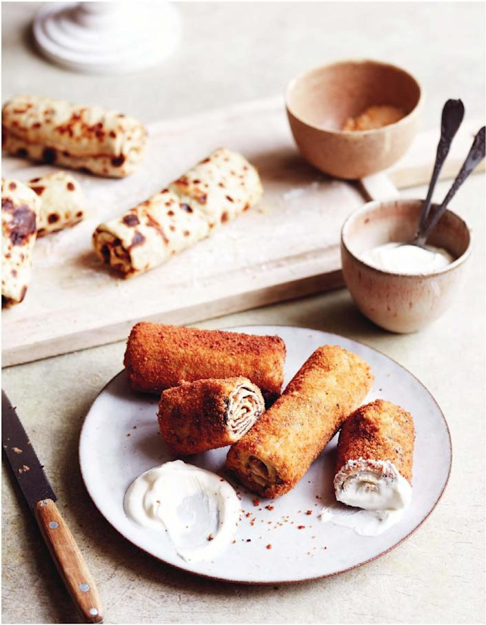 """Here's the thing. Crepes are always great. But these mushroom-filled crispy pan-fried crepes are even better. <a href=""""https://www.epicurious.com/recipes/food/views/brasovence-breaded-crepes-mushroom-filling?mbid=synd_yahoo_rss"""" rel=""""nofollow noopener"""" target=""""_blank"""" data-ylk=""""slk:See recipe."""" class=""""link rapid-noclick-resp"""">See recipe.</a>"""