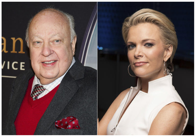 """This combination photo shows Roger Ailes at a special screening of """"Kingsman: The Secret Service"""" in New York on Feb. 9, 2015, left, and Megyn Kelly posing for a portrait in New York on May 5, 2016. Kelly says she did the """"twirl"""" before Roger Ailes, too. The former Fox News Channel personality referred to a scene in the movie """"Bombshell,"""" where the late Fox News boss, portrayed by John Lithgow, asked an aspiring news anchor played by actress Margot Robbie to turn around in front of him so he could assess her body. (AP Photo)"""