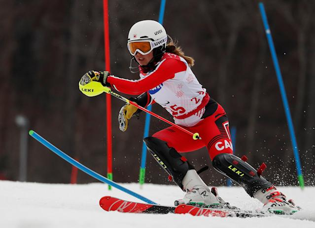Alpine Skiing - Pyeongchang 2018 Winter Paralympics - Women's Slalom - Standing - Run 1 - Jeongseon Alpine Centre - Jeongseon, South Korea - March 18, 2018 - Erin Latimer of Canada. REUTERS/Paul Hanna