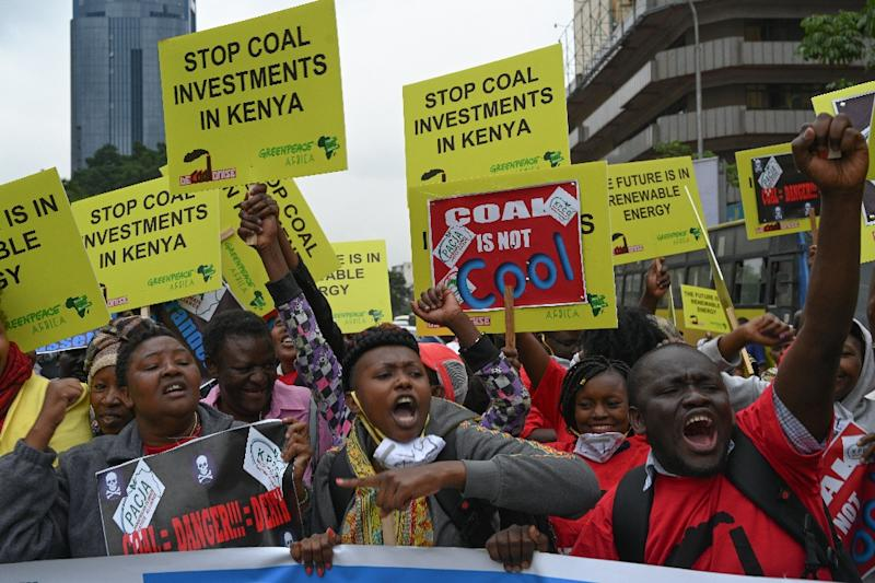 "The protesters chanted ""coal is poisonous"" at the Nairobi rally (AFP Photo/SIMON MAINA)"