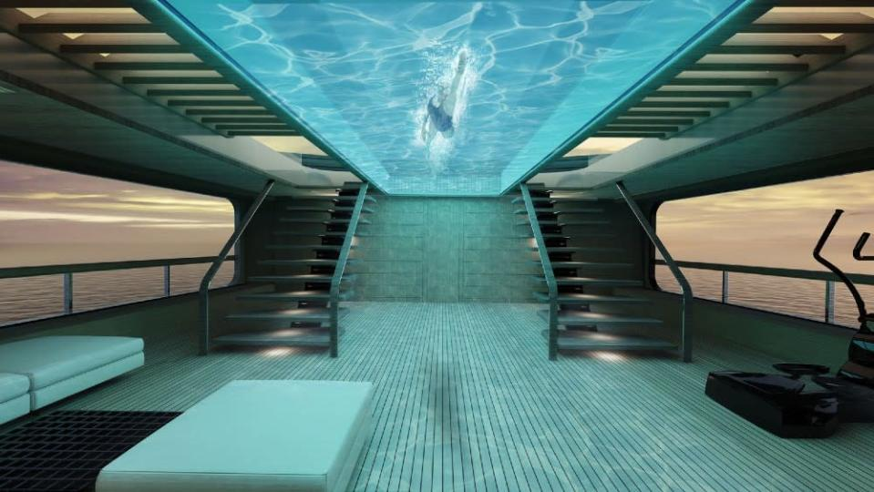 Tankoa's new Apache project includes a glass-bottom pool over the two-level gym and wellness center. - Credit: Courtesy Tankoa Yachts