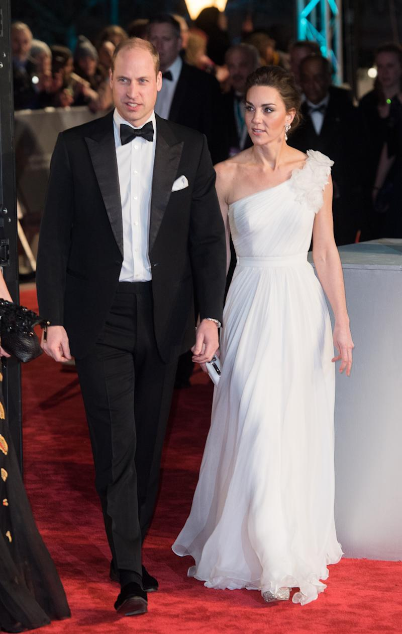 Prince William, Duke of Cambridge and Catherine, Duchess of Cambridge attend the EE British Academy Film Awards at Royal Albert Hall on February 10, 2019 in London, England.