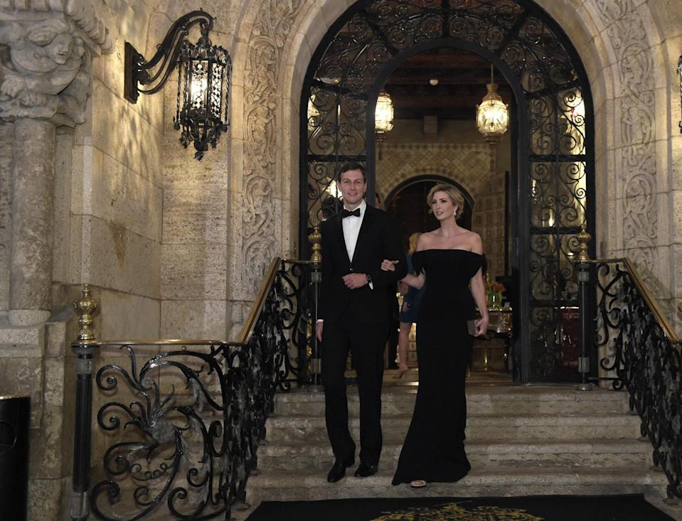 <p>The 35-year-old wore a black off-the-shoulder gown with her husband, White House adviser Jared Kushner, in Palm Beach, Fla., on Saturday, Feb. 11, 2017. (Photo: AP Images) </p>