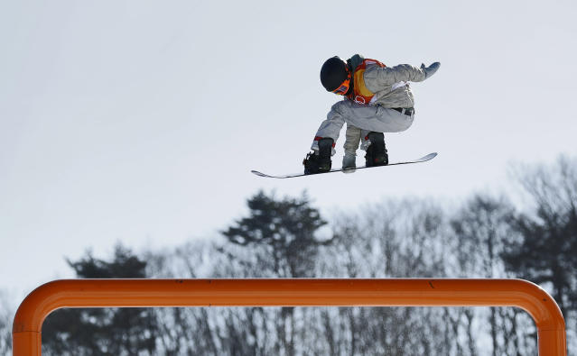 Red Gerard, of the United States, jumps during the men's slopestyle final at Phoenix Snow Park at the 2018 Winter Olympics in PyeongChang, South Korea, Sunday, Feb. 11, 2018. Gerard wins first gold medal for the U.S. (AP Photo/Gregory Bull)