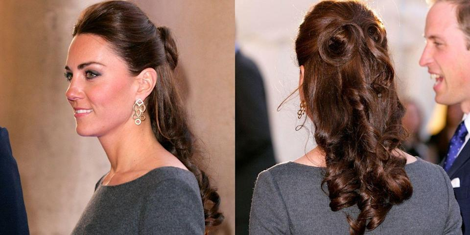 <p>Half-up curls are one of the Duchess' signature styles</p>