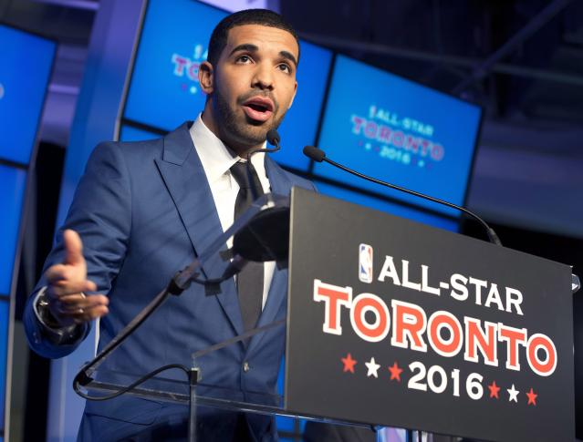 Canadian recording artist Drake speaks at a news conference after the announcement that the Toronto Raptors will host the 2016 NBA All Star game at a news conference in Toronto on Monday Sept. 30, 2013. (AP Photo/The Canadian Press, Frank Gunn)