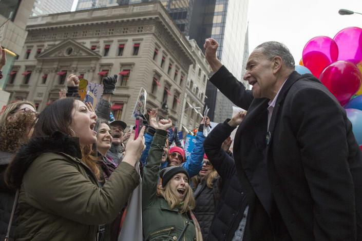 <p>Senate Minority Leader Charles Schumer of N.Y, joins demonstrators marching up 5th Avenue during a women's march, Saturday, Jan. 21, 2017, in New York. (AP Photo/Mary Altaffer) </p>