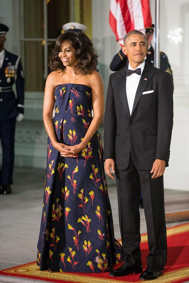 <p>Michelle Obama wearing Jason Wu for a state dinner, 2016. (Photo: AP)</p>
