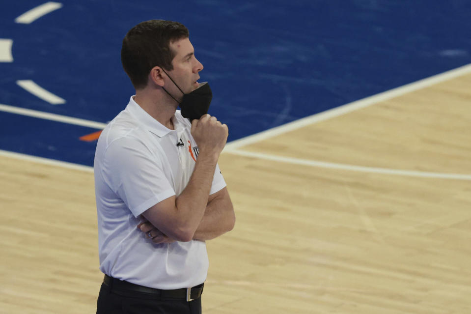 Boston Celtics head coach Brad Stevens reacts during the second half of an NBA basketball game against the New York Knicks in New York, Sunday, May 16, 2021. (Vincent Carchietta/Pool Photo via AP)