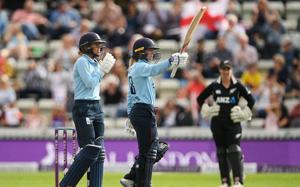 Danni Wyatt of England celebrates reaching fifty during the 2nd One Day International match between England and New Zealand at New Road on September 19, 2021 in Worcester, England. - GETTY IMAGES\
