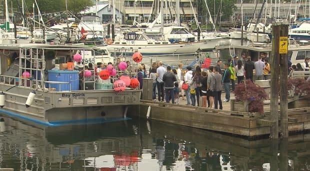 People line up at Vancouver's Fisherman's Wharf during the 2016 Spot Prawn Festival.