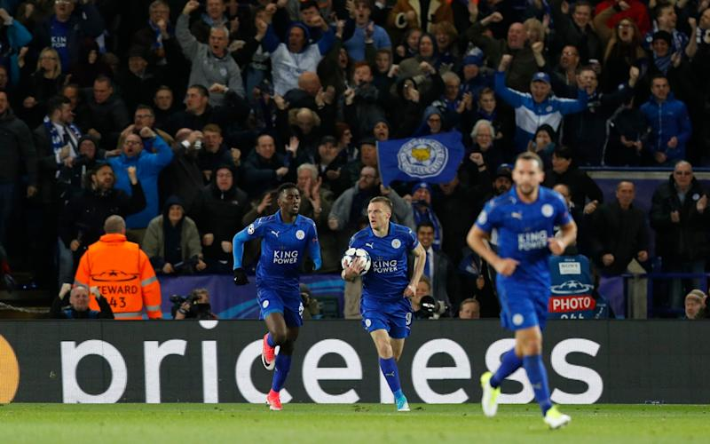 Leicester City's Jamie Vardy celebrates scoring v Atletico Madrid - Credit: Reuters