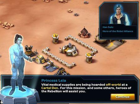 """A screen shot from """"Star Wars: Commander,"""" a free mobile app that lets players direct battles with franchise heroes Han Solo, Chewbacca and Princess Leia. REUTERS/Walt Disney Co."""