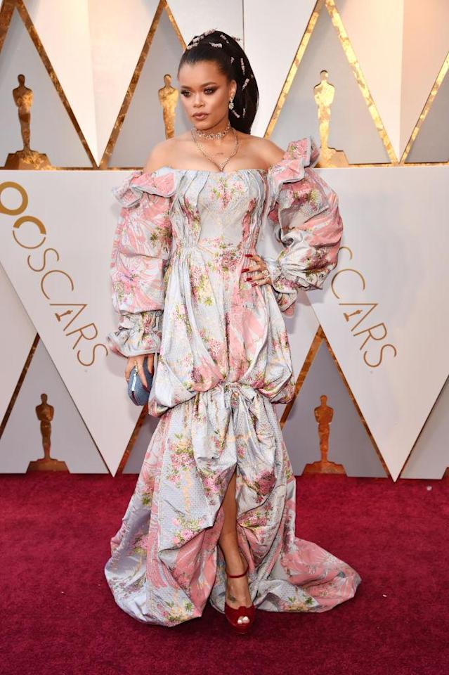 <p>Andra Day attends the 90th Academy Awards in Hollywood, Calif., March 4, 2018. (Photo: Getty Images) </p>