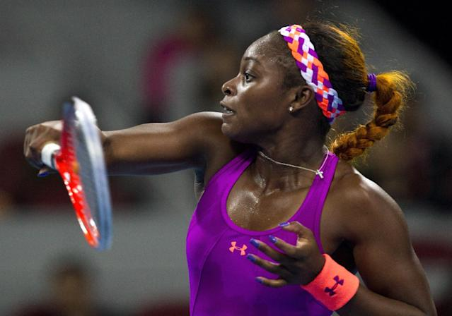 Sloane Stephens of the U.S. watches her shot as she plays against Caroline Wozniacki of Denmark during the China Open tennis tournament at the National Tennis Stadium in Beijing, China Thursday, Oct. 3, 2013. (AP Photo/Andy Wong)