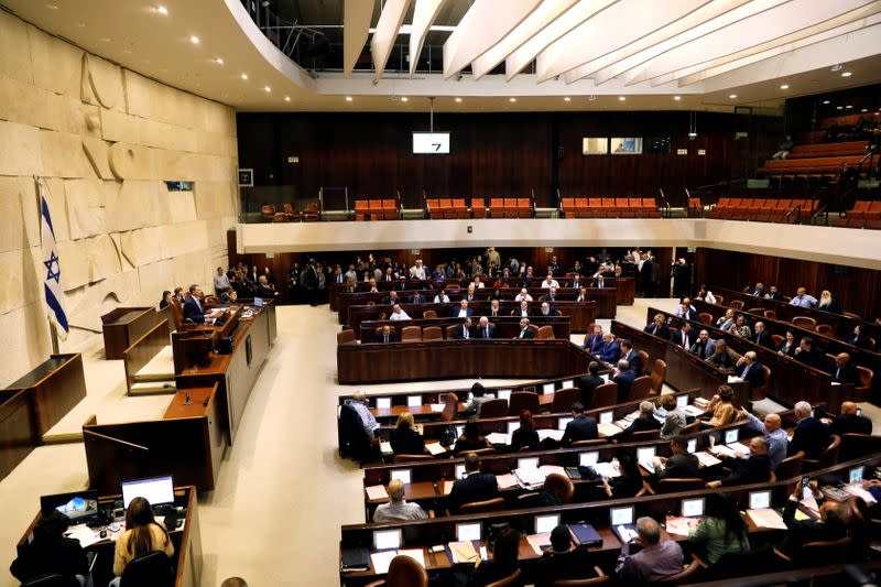 FILE PHOTO: A general view shows the plenum at the knesset, Israel's parliament, in Jerusalem
