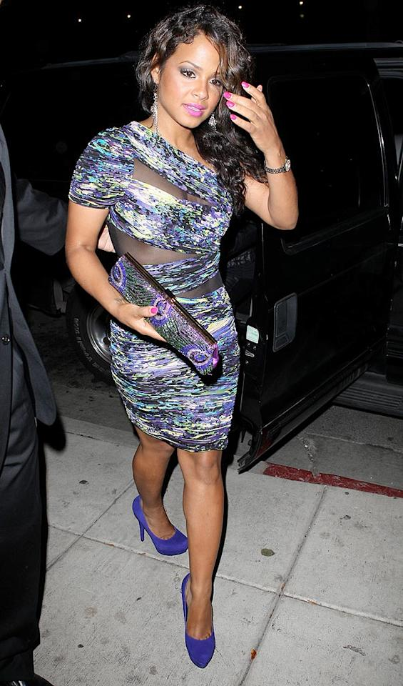 "Christina Milian wore this multi-colored mess to a meal at Koi the other night. Truth be told, we couldn't keep our dinner down if forced to sit across the table from this unappetizing dress. MVP/<a href=""http://www.x17online.com"" target=""new"">X17 Online</a> - October 7, 2010"