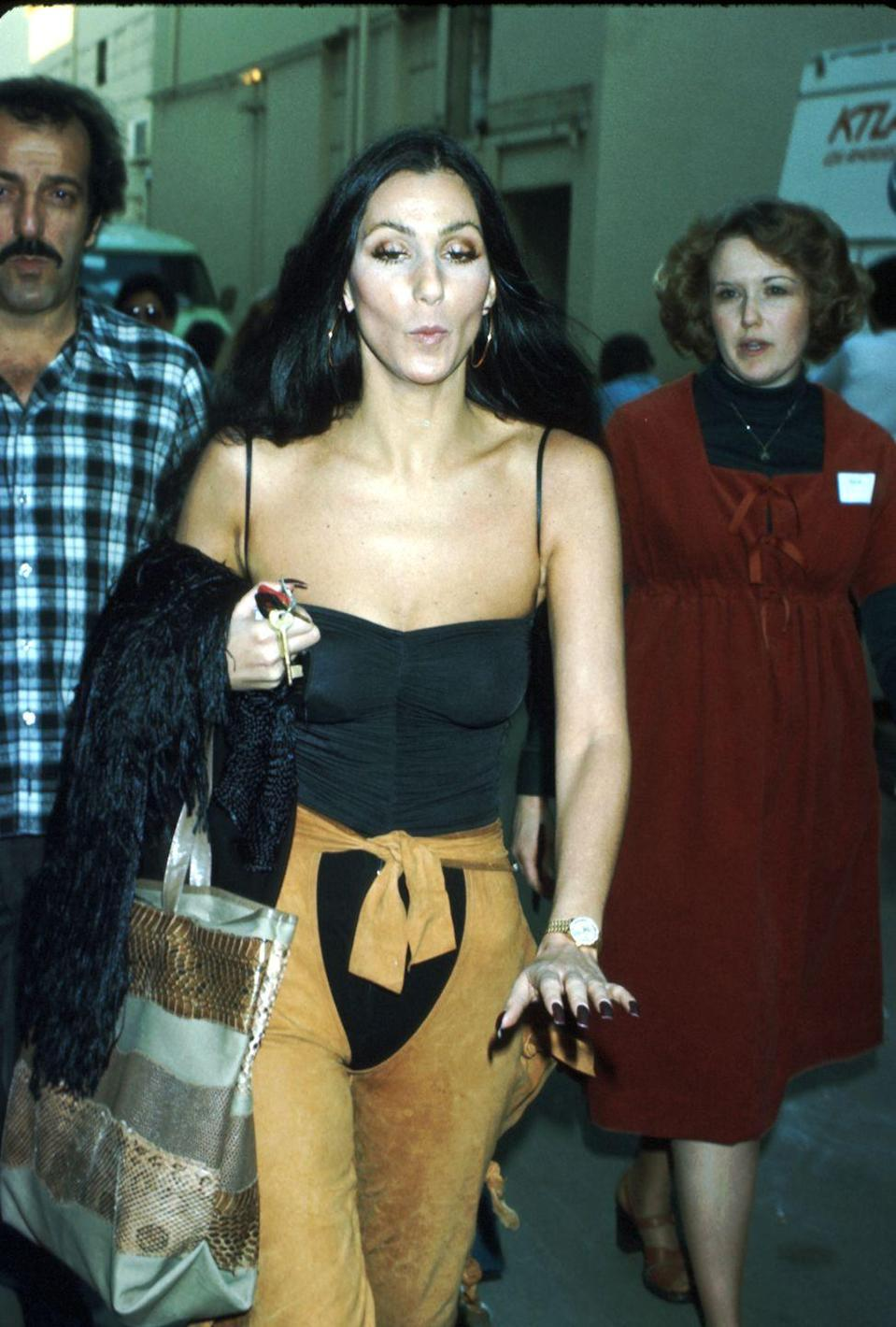 <p>In a black bodysuit and suede chaps while arriving to the CBS Studios. </p>