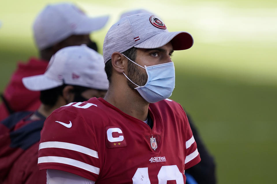 The 49ers say Jimmy Garoppolo won't be traded. (AP Photo/Tony Avelar)