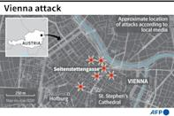 Map of the Austrian capital of Vienna showing the areas where Monday's deadly shooting took place