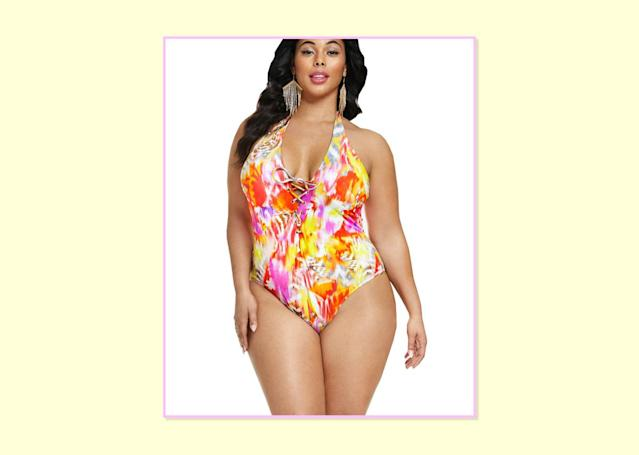 """<p>$78.90; <a href=""""http://www.fashiontofigure.com/plus-size-one-piece-swimsuit-with-lace-up-front"""" rel=""""nofollow noopener"""" target=""""_blank"""" data-ylk=""""slk:Fashion To Figure"""" class=""""link rapid-noclick-resp"""">Fashion To Figure</a>. </p>"""