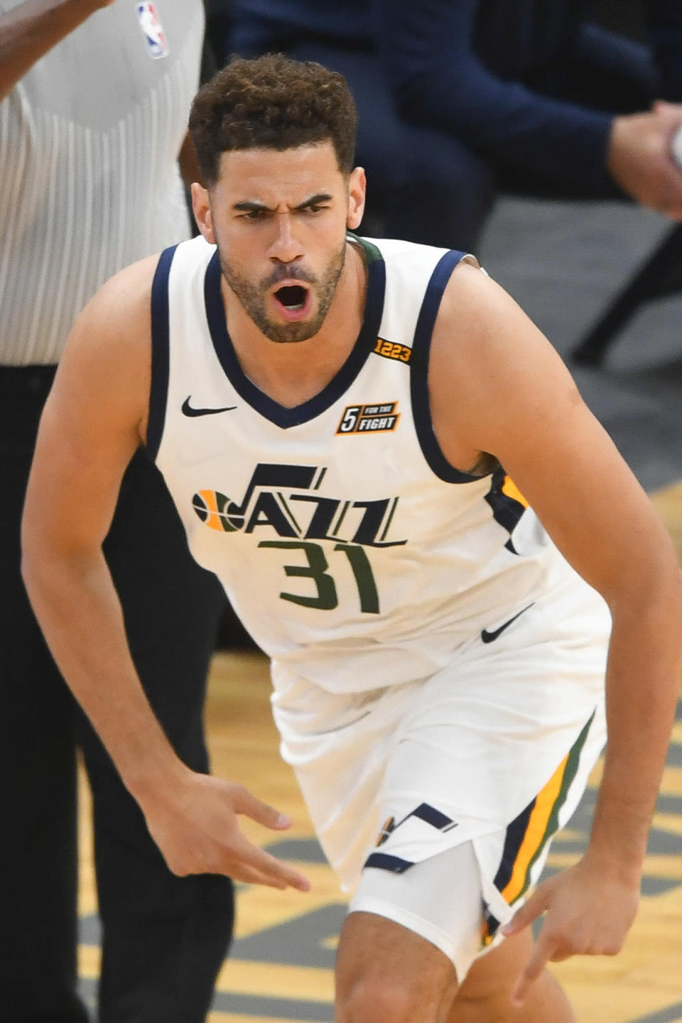 Utah Jazz forward Georges Niang reacts after making a 3-point goal against the Memphis Grizzlies during the first half of Game 3 of an NBA basketball first-round playoff series Saturday, May 29, 2021, in Memphis, Tenn. (AP Photo/John Amis)