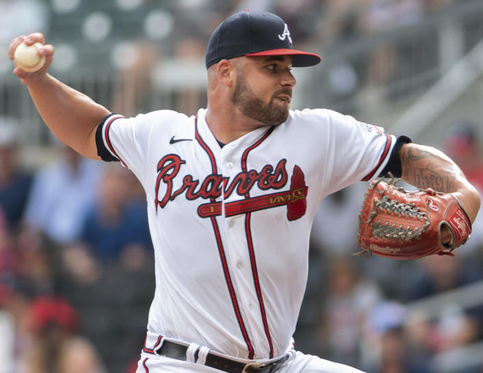 Atlanta Braves starting pitcher Bryse Wilson throws during the first inning of the second game of a baseball doubleheader against the San Diego Padres on Wednesday, July 21, 2021, in Atlanta. (AP Photo/Hakim Wright Sr.)