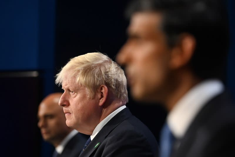 Britain's Prime Minister Johnson, Chancellor of the Exchequer Sunak and Health Secretary Javid give news conference in London