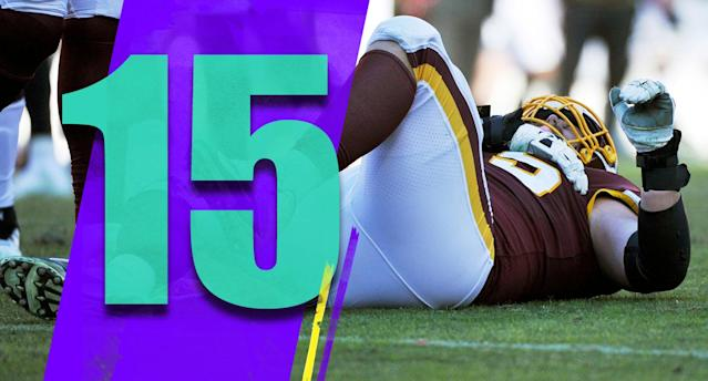 <p>Not many teams had a worse Sunday. It wasn't just the blowout loss at home. Right guard Brandon Scherff, left guard Shawn Lauvao and wide receiver Paul Richardson suffered season-ending injuries. (Brandon Scherff) </p>