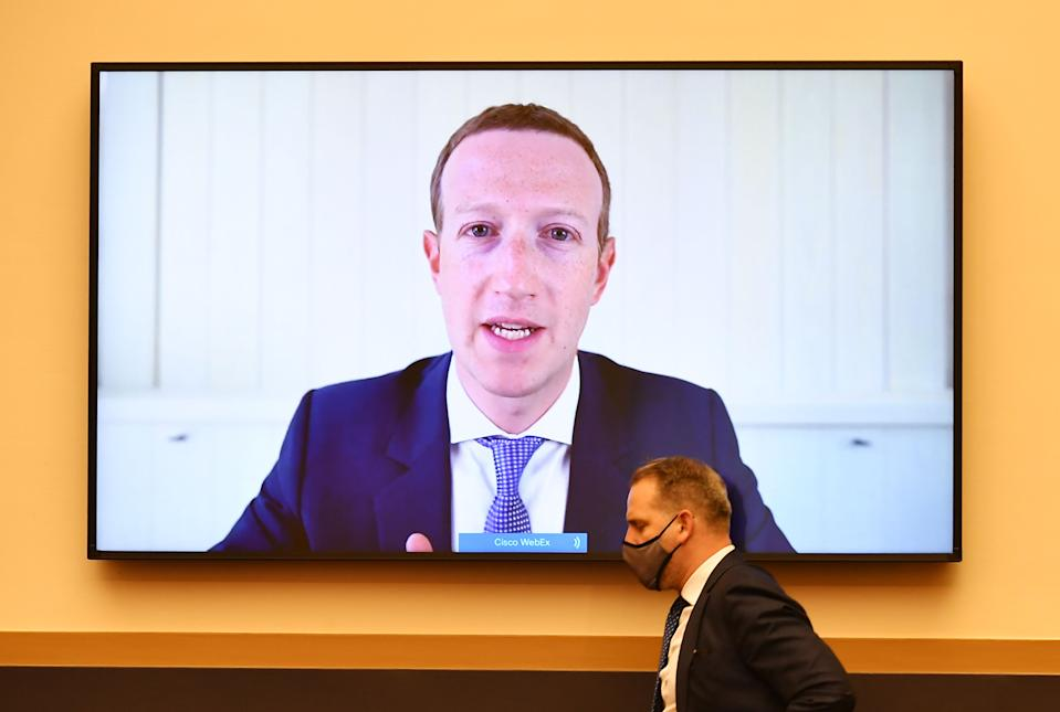 """Facebook CEO Mark Zuckerberg testifies before the House Judiciary Subcommittee on Antitrust, Commercial and Administrative Law hearing on """"Online Platforms and Market Power"""" in the Rayburn House office Building on Capitol Hill in Washington, DC on July 29, 2020. (Photo by MANDEL NGAN / POOL / AFP) (Photo by MANDEL NGAN/POOL/AFP via Getty Images)"""