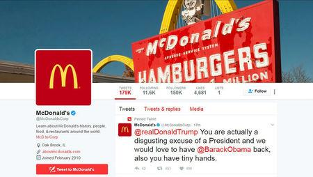 A message to Donald Trump appears on the McDonald's Twitter account timeline -- which McDonald's said was hacked --  in a screen capture March 16, 2017.   REUTERS/TV