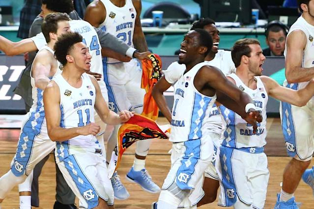 <p>North Carolina Tar Heels forward Theo Pinson (1) and his teammates react after the game against the Gonzaga Bulldogs in the championship game of the 2017 NCAA Men's Final Four at University of Phoenix Stadium. Mandatory Credit: Mark J. Rebilas-USA TODAY Sports </p>