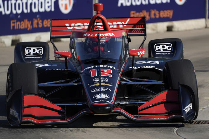 Will Power, of Australia, practices for the IndyCar Detroit Grand Prix auto racing doubleheader on Belle Isle in Detroit, Friday, June 11, 2021. (AP Photo/Paul Sancya)