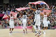 LONDON, ENGLAND - AUGUST 12: Team mates Chris Paul #13 of the United States, James Harden #12 of the United States, Anthony Davis #14 of the United States, and Russell Westbrook #7 of the United States celebrate winning the Men's Basketball gold medal game between the United States and Spain on Day 16 of the London 2012 Olympics Games at North Greenwich Arena on August 12, 2012 in London, England. The United States won the match 107-100. (Photo by Harry How/Getty Images)