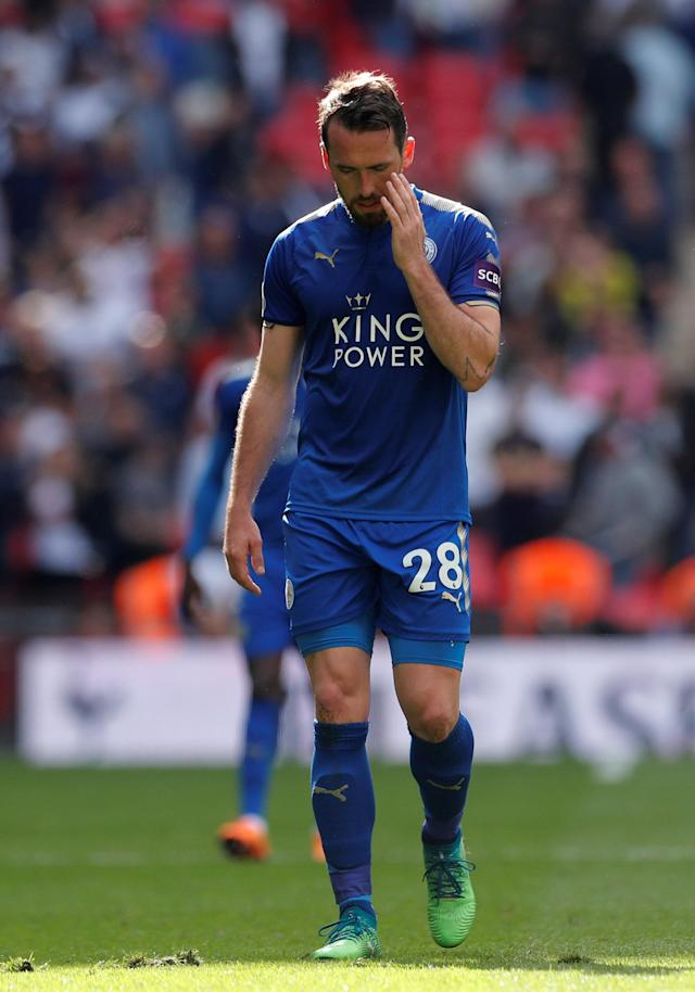 "Soccer Football - Premier League - Tottenham Hotspur vs Leicester City - Wembley Stadium, London, Britain - May 13, 2018 Leicester City's Christian Fuchs looks dejected after the match Action Images via Reuters/Andrew Couldridge EDITORIAL USE ONLY. No use with unauthorized audio, video, data, fixture lists, club/league logos or ""live"" services. Online in-match use limited to 75 images, no video emulation. No use in betting, games or single club/league/player publications. Please contact your account representative for further details."