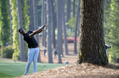 Tony Finau of the U.S. hits on the 17th fairway during first round play of the 2018 Masters golf tournament at the Augusta National Golf Club in Augusta, Georgia, U.S., April 5, 2018. REUTERS/Brian Snyder