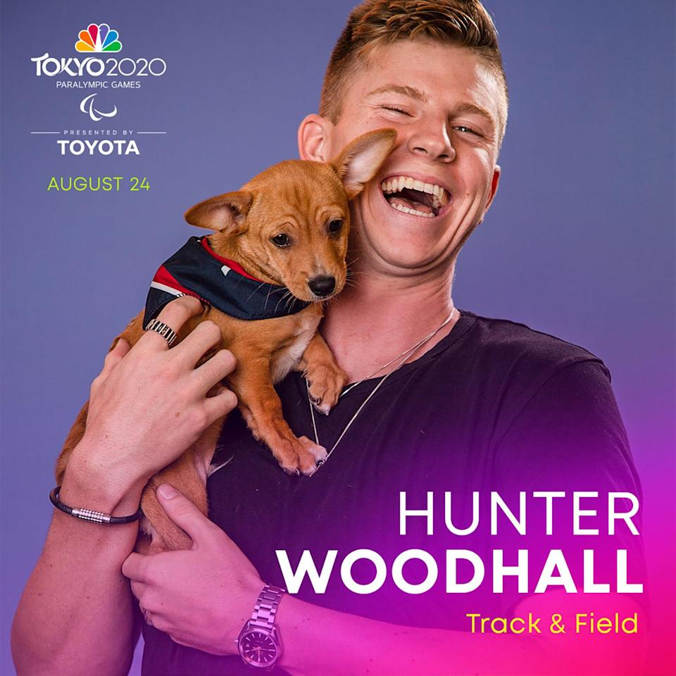 """<p><a href=""""https://www.teamusa.org/usparatrackandfield/athletes/Hunter-Woodhall"""" rel=""""nofollow noopener"""" target=""""_blank"""" data-ylk=""""slk:Woodhall"""" class=""""link rapid-noclick-resp"""">Woodhall</a> is a sprinter training to join his second Paralympic Games. He won two medals at the 2016 Rio Paralympic Games, a silver in the 200-meter dash and a bronze in the 400-meter dash.</p>"""