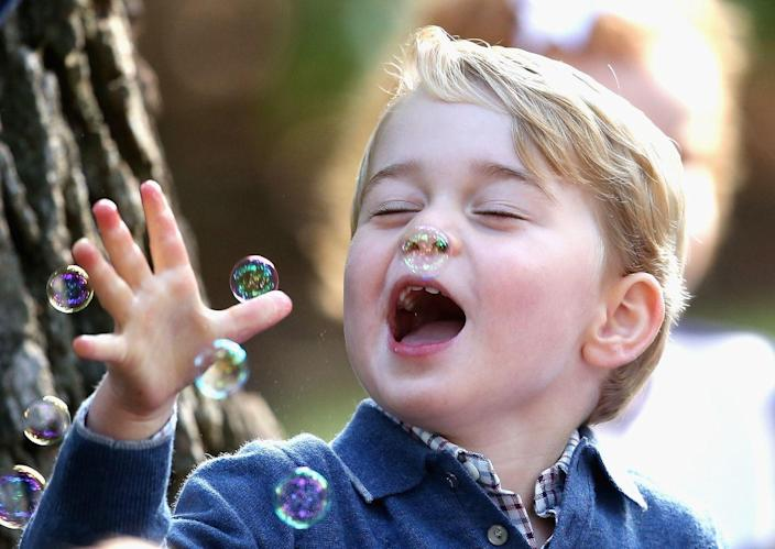 <p>Nothing brings the young royal joy quite like blowing bubbles.</p>