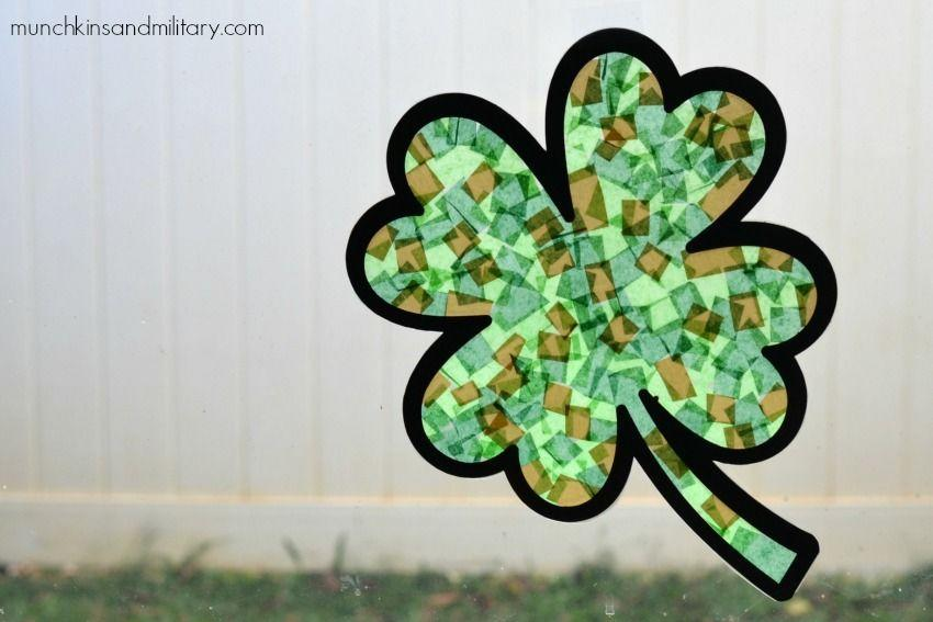 """<p>Just stick some colorful tissue paper onto clear contact paper, then watch all that beautiful green catch in the sun! It's that easy! </p><p><em><a href=""""https://threelittleferns.com/2016/03/four-leaf-clover-sun-catcher.html"""" rel=""""nofollow noopener"""" target=""""_blank"""" data-ylk=""""slk:Get the tutorial at Three Little Ferns »"""" class=""""link rapid-noclick-resp"""">Get the tutorial at Three Little Ferns »</a></em></p>"""