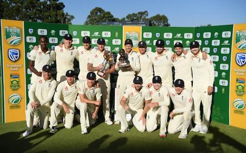 he England squad celebrate with the trophy after their 3-1 series win after Day Four of the Fourth Test between South Africa and England at Wanderers - Credit: Stu Forster/Getty Images