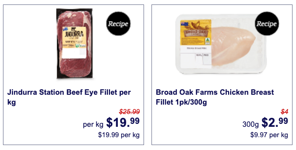 Beef eye fillet and chicken breast on special at Aldi.