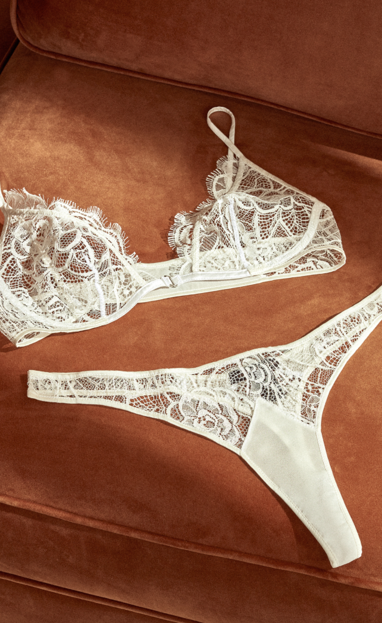Celebrate your wedding night the way it was intended: with a little bit of lace and nothing else.