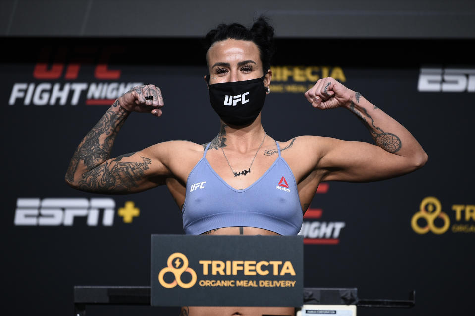 LAS VEGAS, NEVADA - NOVEMBER 27: Ashlee Evans-Smith poses on the scale during the UFC weigh-in at UFC APEX on November 27, 2020 in Las Vegas, Nevada. (Photo by Chris Unger/Zuffa LLC)