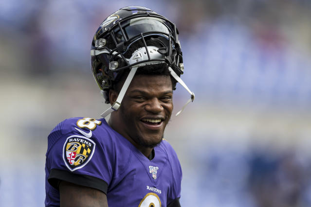 "Baltimore Ravens quarterback Lamar Jackson won the 2019 NFL MVP and will grace the cover of the ""Madden"" video game series this season. (Photo by Scott Taetsch/Getty Images)"