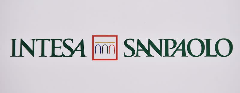 Intesa Sanpaolo bank logo is seen at the headquarters during shareholders meeting in Turin