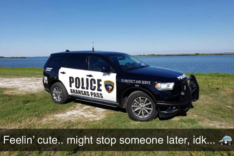 Law enforcement officials have been taking part in the #FeelingCute challenge. (Photo: Aransas Pass Police Department via Facebook)